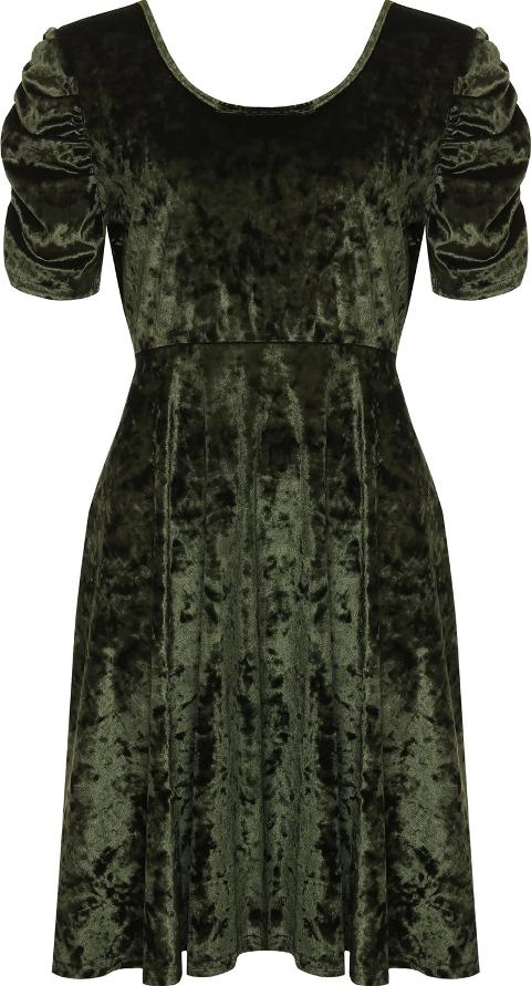 Olivia Velour Velvet Ruched Sleeve Swing Dress