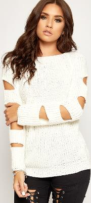 Rachel Cut Out Sleeve Knitted Jumper
