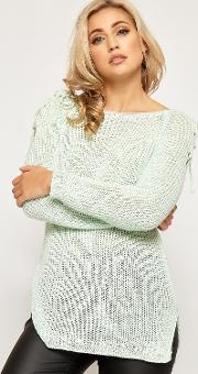Rachelle Tied Sleeve Cable Knit Jumper