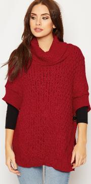 Selina Knitted Cowl Neck Poncho