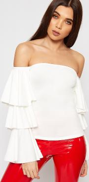 Stella Bardot Layered Frill Sleeve Crop Top