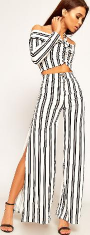Striped Crop Top Palazzo Trousers Co
