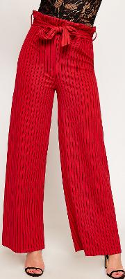 Striped High Waist Wide Leg Paperbag Trousers,