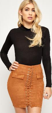 Suede Lace Up Eyelet Mini Skirt,