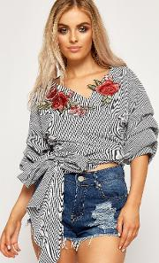 Theresa Gingham Floral Embroidered Ruched Sleeve Top