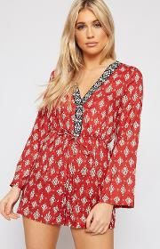 Zoey Long Sleeve Plunge Playsuit
