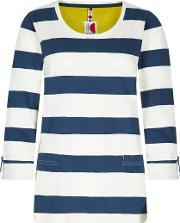 Ajay Cotton Slub Stripe Long Sleeve T Shirt
