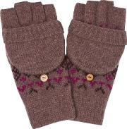 Cotswold Fair Isle Knit Gloves Heather Size One