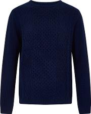 Denside Crew Neck Cable Knit Jumper