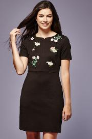 Embroidered Patch Ponte Dress