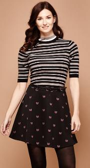 Pleated Cat Print Skirt