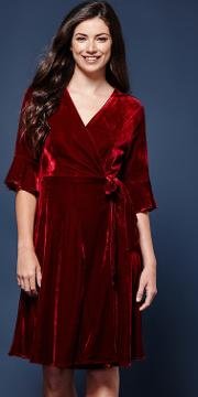 Velvet Flute Sleeve Wrap Dress